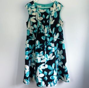 EUC London Times Woman Floral Fit-and-Flare Dress